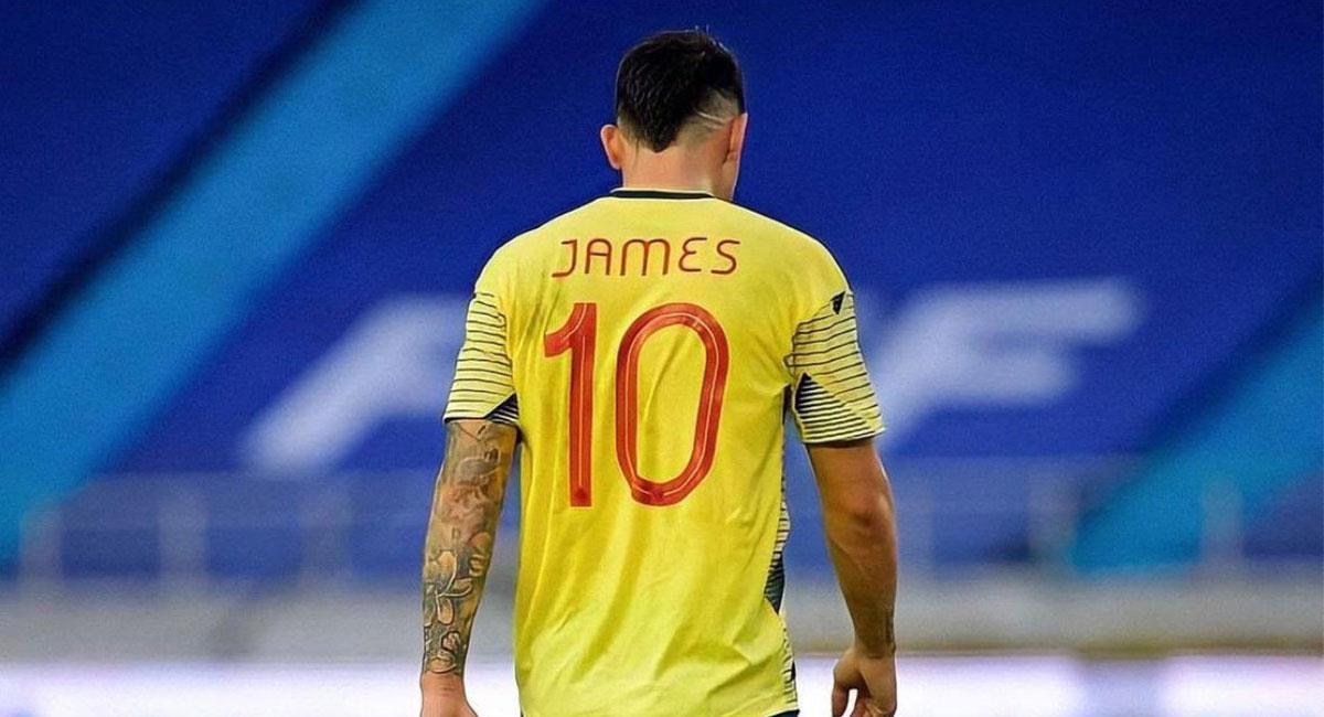 James Rodríguez no pudo hacer mucho para evitar la derrota de Colombia ante Uruguay. Foto: Twitter @jamesdrodriguez