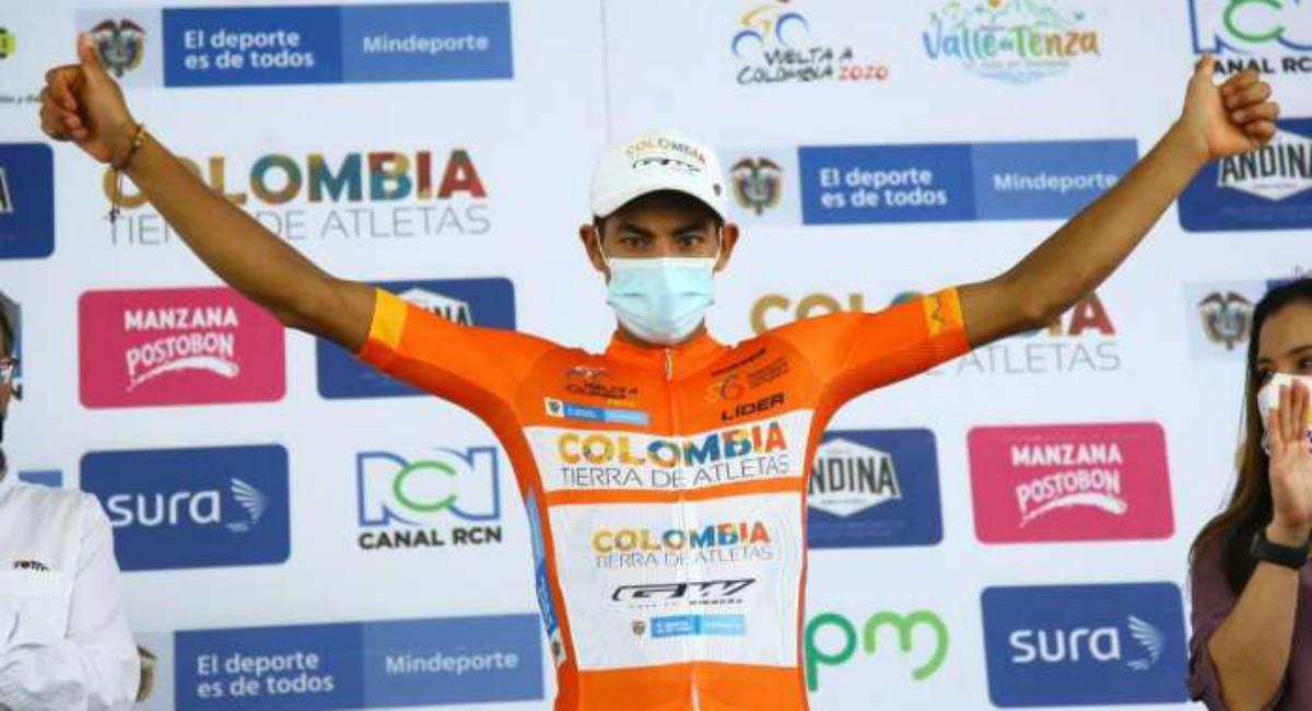 Diego Camargo campeón de la Vuelta a Colombia. Foto: Twitter Prensa redes @TierraDeAtletas