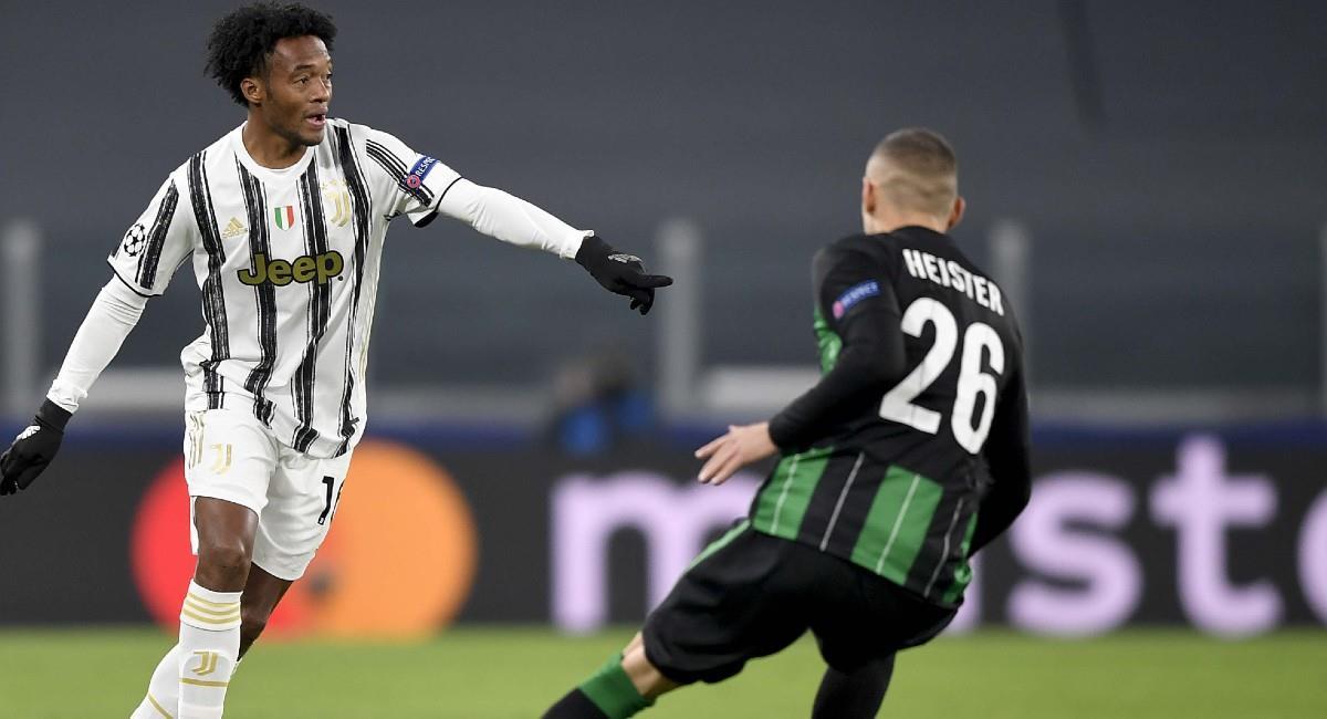 Cuadrado en el partido de Champions League con Juventus ante Ferencvaros. Foto: Twitter @juventusfces