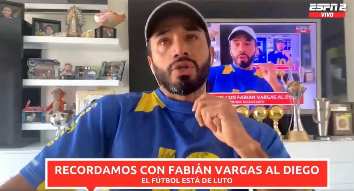 Fabián Vargas en llanto recordando a Maradona. Foto: Twitter @NexoESPNco