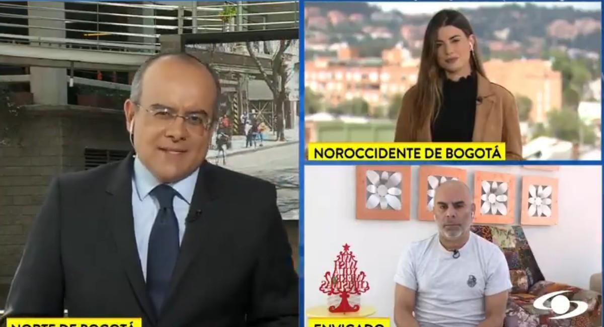 Momento de la entrevista en Noticias Caracol a Chicho Serna. Foto: Twitter @NoticiasCaracol