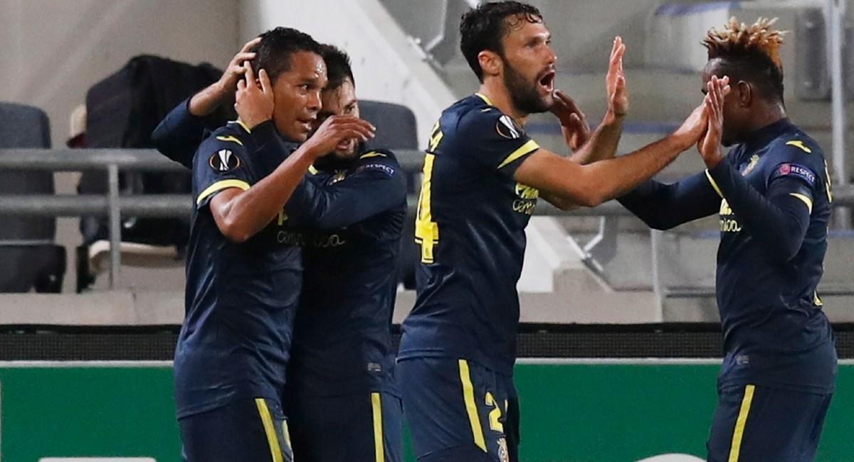 Carlos Bacca celebra el gol de Villarreal en Europa League. Foto: EFE