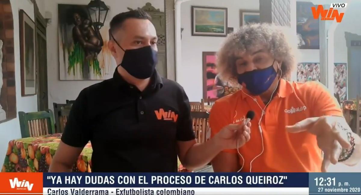 Carlos 'El Pibe' Valderrama en entrevista con Win Noticias. Foto: Twitter @NoticiasWin