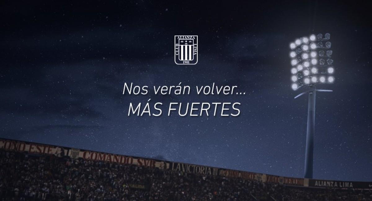Alianza Lima desciende en Perú y el club pide perdón a los hinchas. Foto: Twitter @ClubALoficial