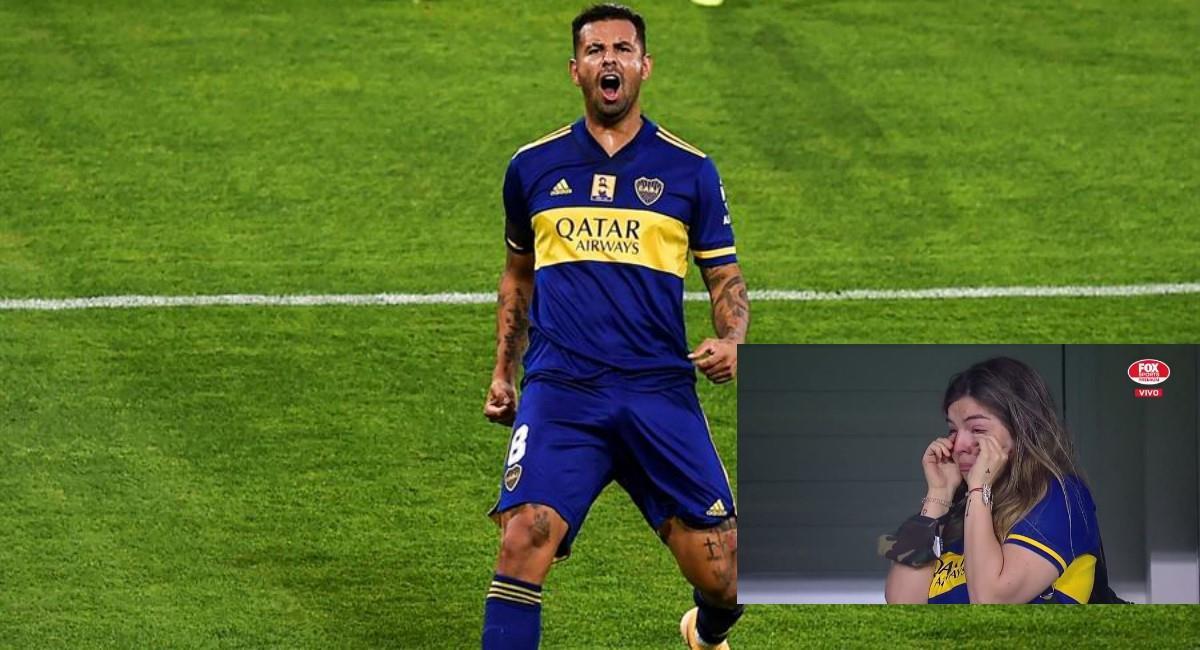Cardona marcó doblete con Boca Juniors. Foto: EFE captura pantalla ESPN
