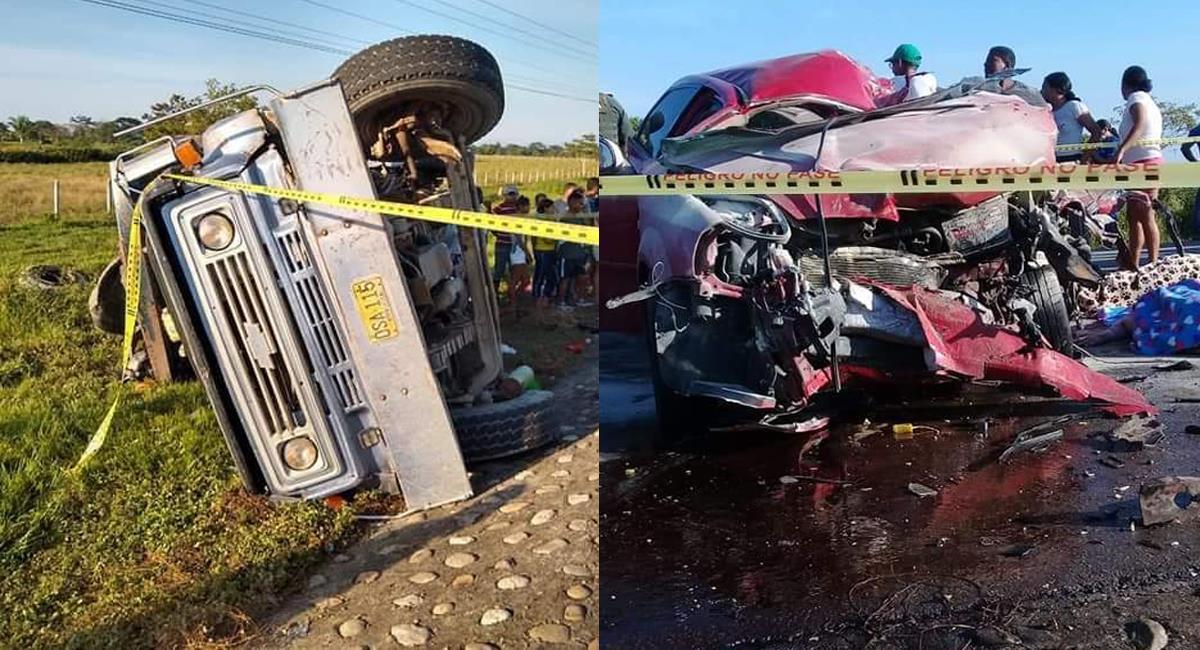 Dos adultos y dos menores perdieron la vida como consecuencia del choque de un auto particular y una volqueta en el Cesar. Foto: Twitter @emergencyjag