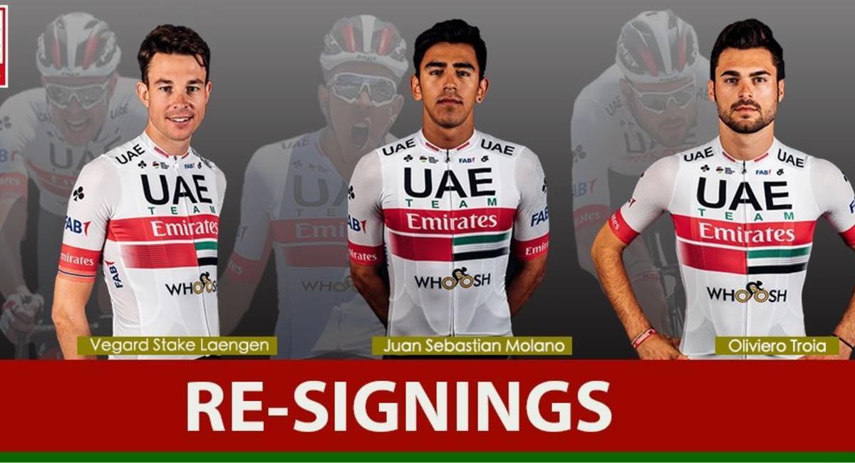 Juan Sebastián Molano seguirá en el UAE Team Emirates. Foto: Twitter @TeamUAEAbuDhabi