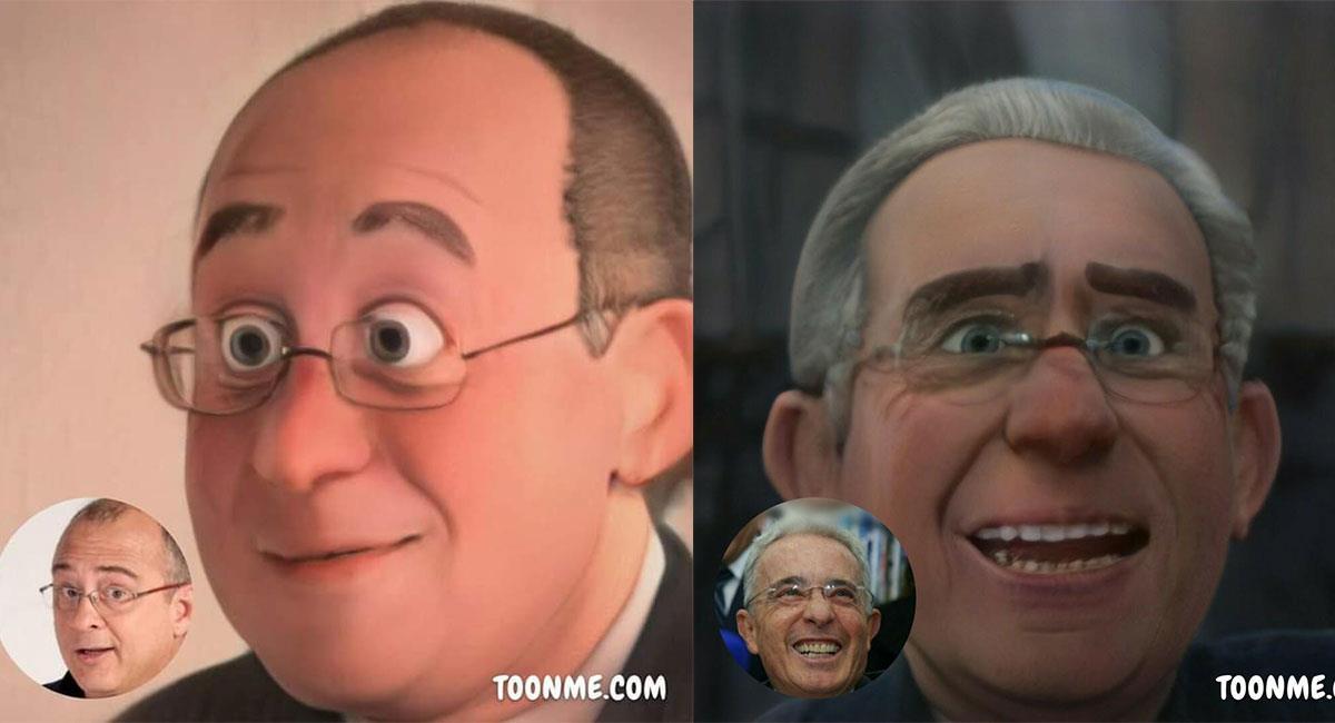 """Jota Mario y Álvaro Uribe fueron diseñados como personajes para """"Encanto"""". Foto: Twitter @Hail_Gu y @OUribismo"""