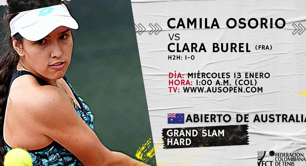 María Camila Osorio no pudo ante su rival Clara Burel. Foto: Twitter @fedecoltenis