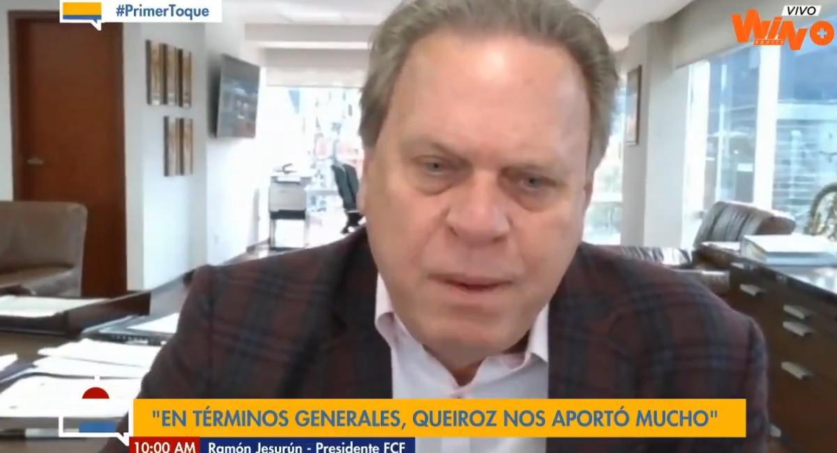 Ramón Jesurún, presidente de la Federación Colombiana de Fútbol. Foto: Twitter @WinSportsTV