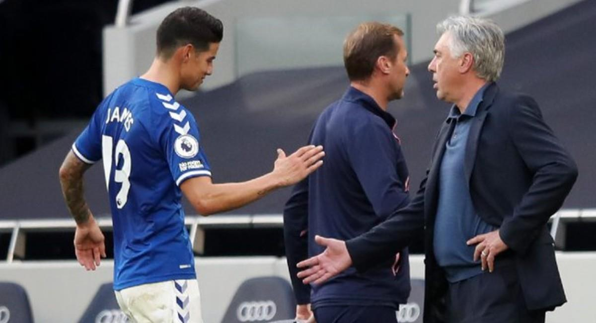 James Rodríguez y Carlo Ancelotti con Everton. Foto: Twitter @Everton