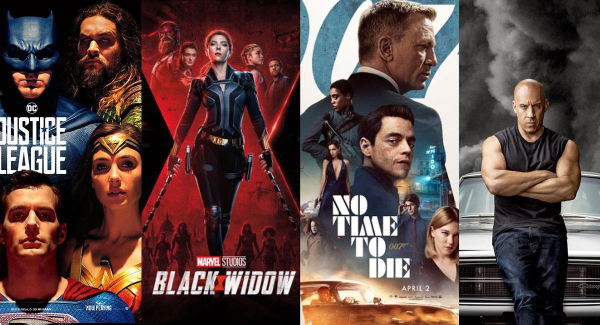 El 2021 está repleto de grandes películas estreno. Foto: Twitter @justiceleaguewb, @theblackwidow, @007 y @TheFastS