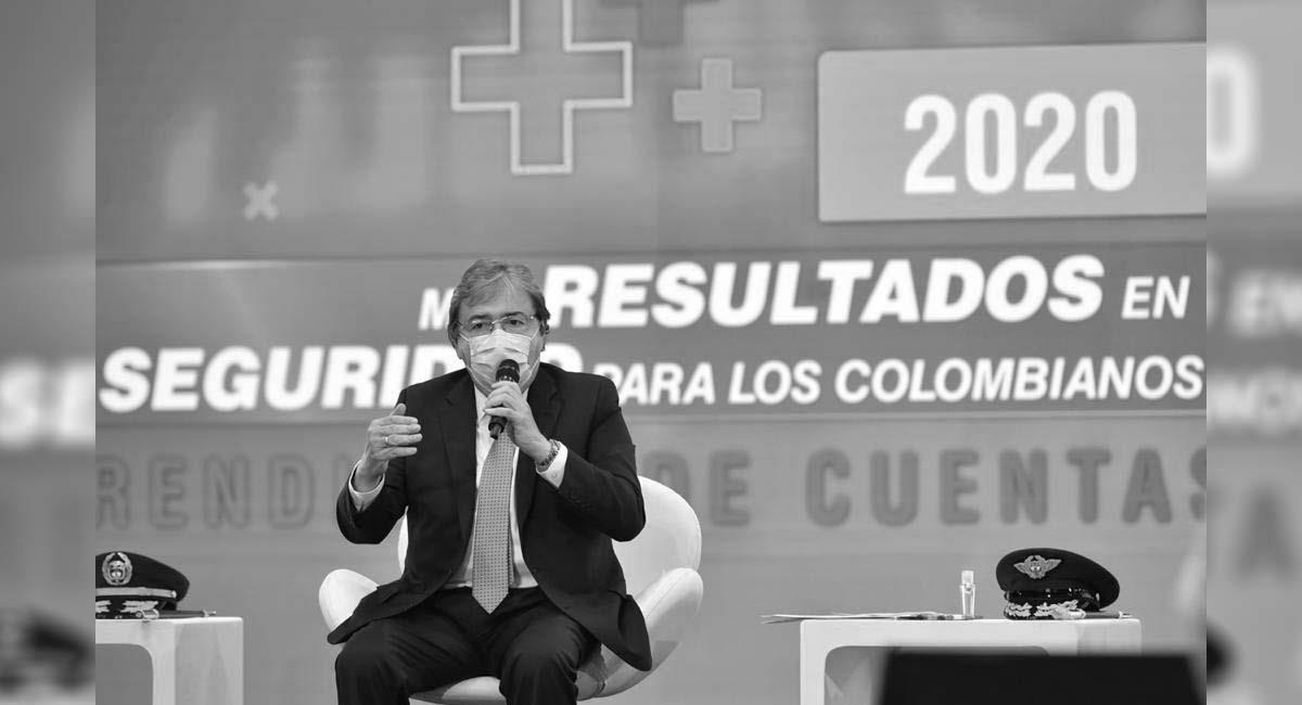 Carlos Holmes Trujillo, durante la rendición de cuentas de MinDefensa en 2020. Foto: Twitter / @mindefensa