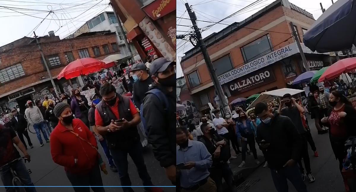 Vendedores formales e informales de la localidad de Fontibón protestan por cuarentenas en sus barrios que afectan su economía. Foto: Facebook Vecinos Villemar Fontibón