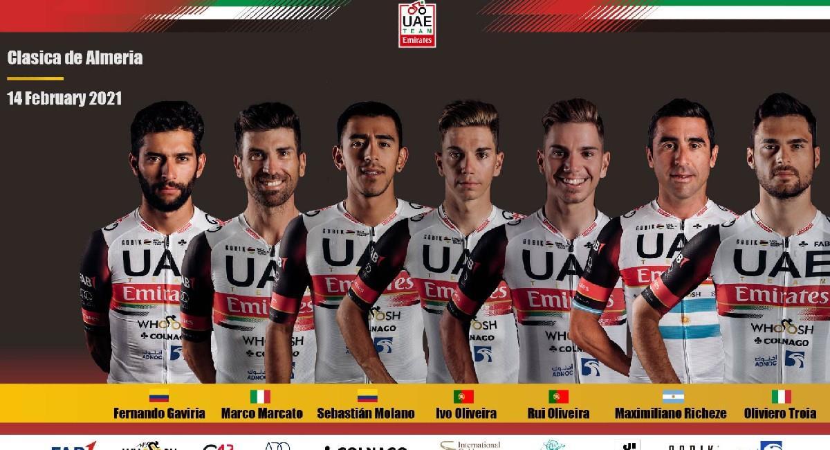 Fernando Gaviria liderará a su equipo en la Clásica de Almería. Foto: Twitter @TeamEmiratesUAE