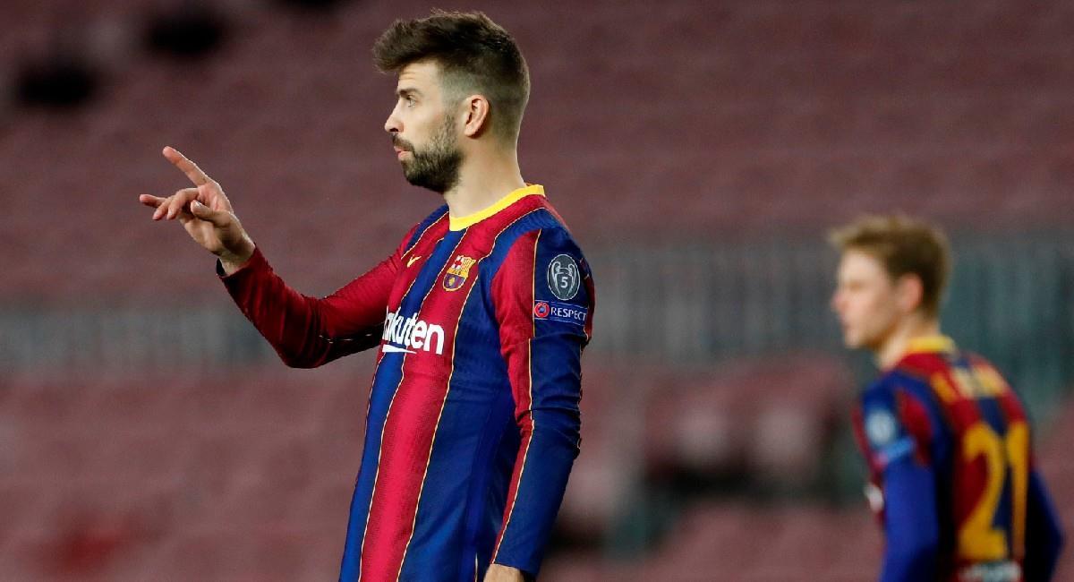 Gerard Piqué en la formación titular de Barcelona. Foto: EFE
