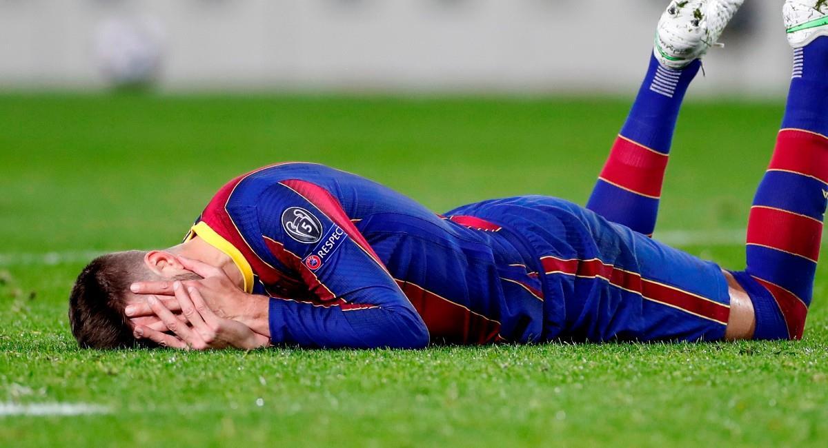 Gerard Piqué en el partido ante París Saint Germain. Foto: EFE