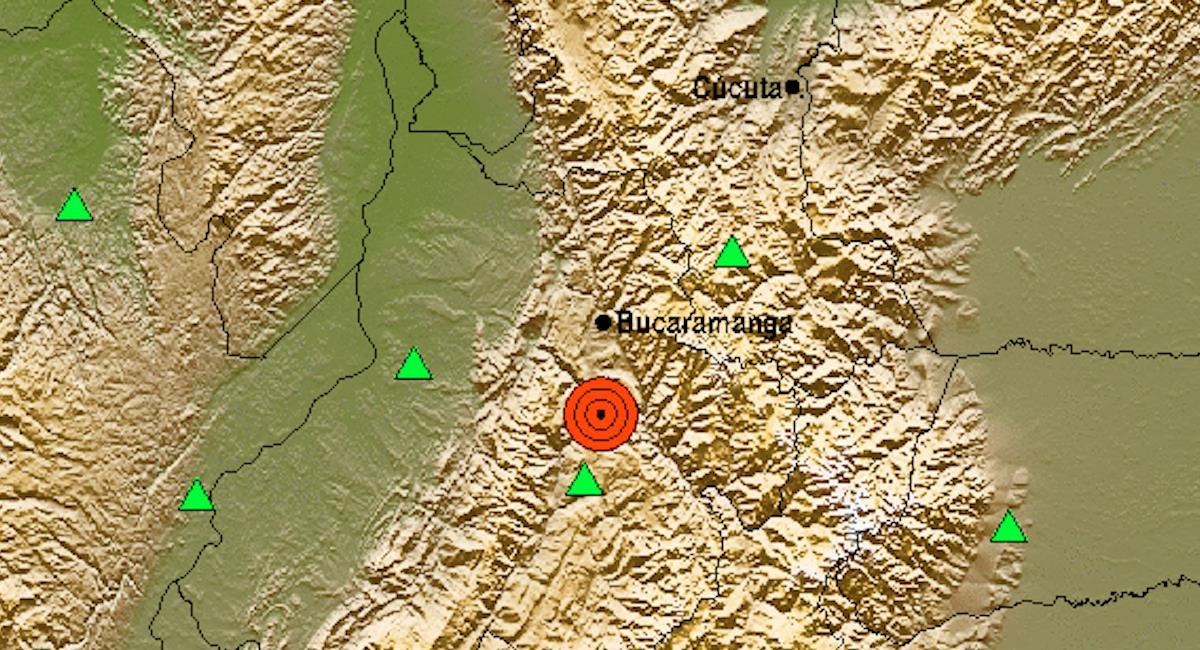 Temblor de magnitud 4.2 en Santander. Foto: Servicio Geológico Colombiano