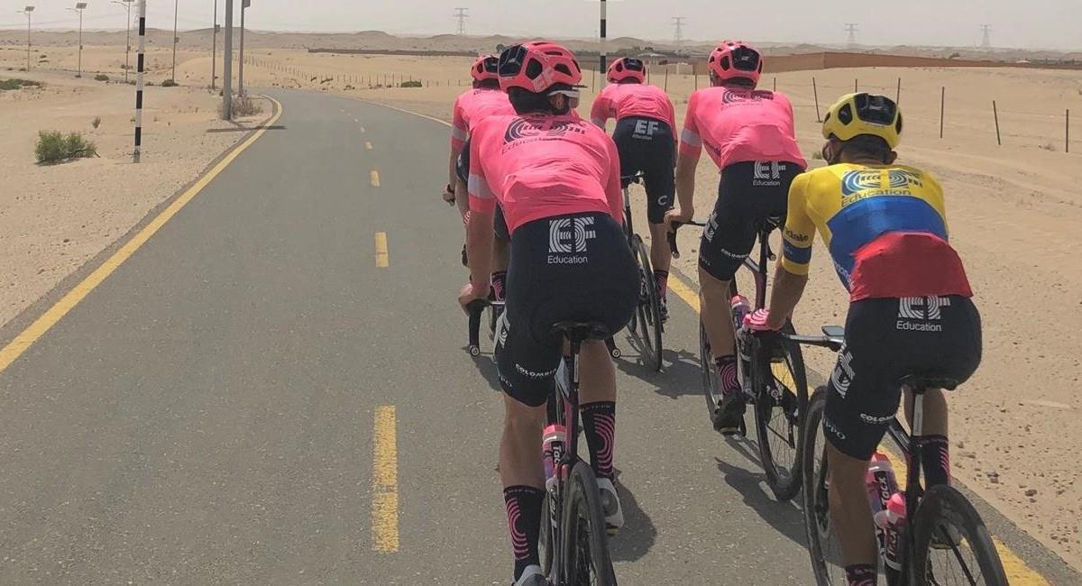 Sergio Higuita ingresó en la cuarta posición en el Tour de los Emiratos. Foto: Twitter @EFprocycling