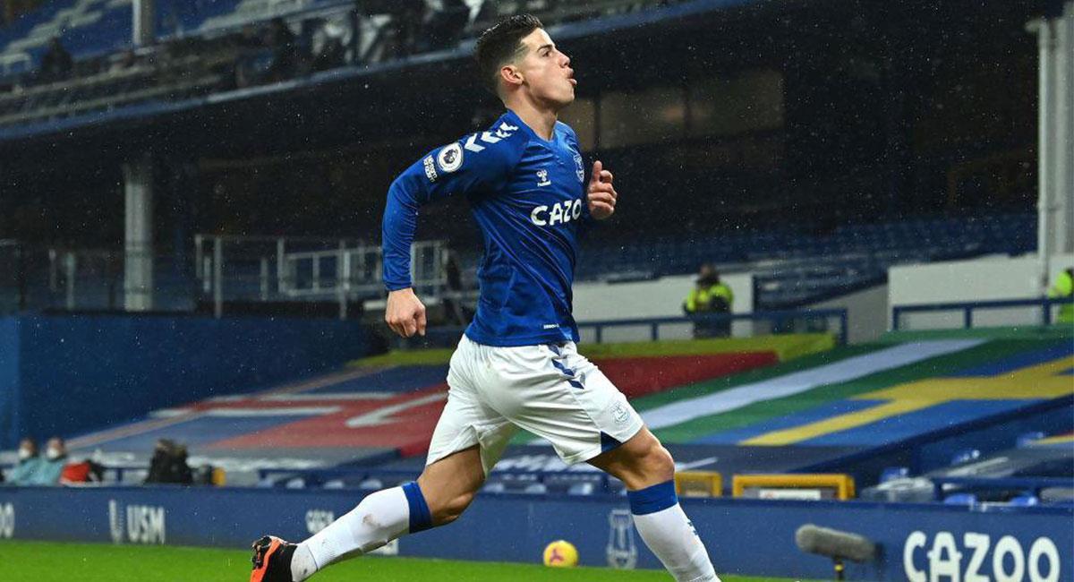 James Rodríguez fue titular en el último partido de Everton. Foto: Twitter @jamesdrodriguez