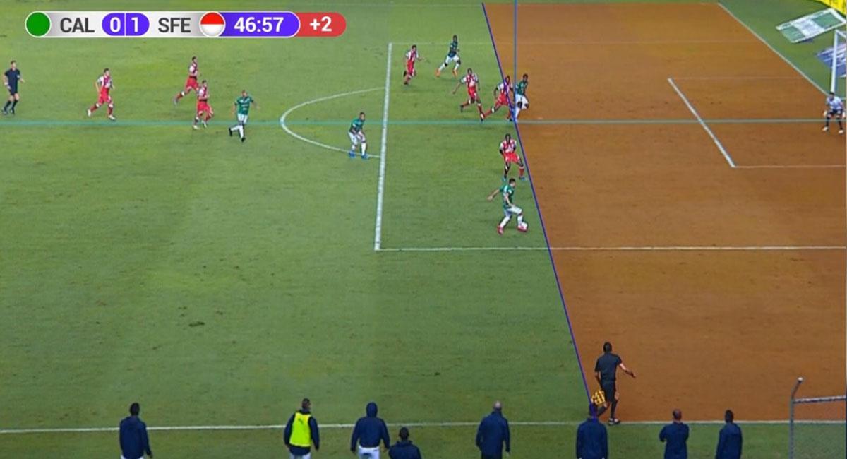 La imagen del fuera e lugar de Marco Pérez fue bastante clara, salvo para Carlos Antonio Vélez y Faryd Mondragón. Foto: Twitter Captura @WinSportsOnline