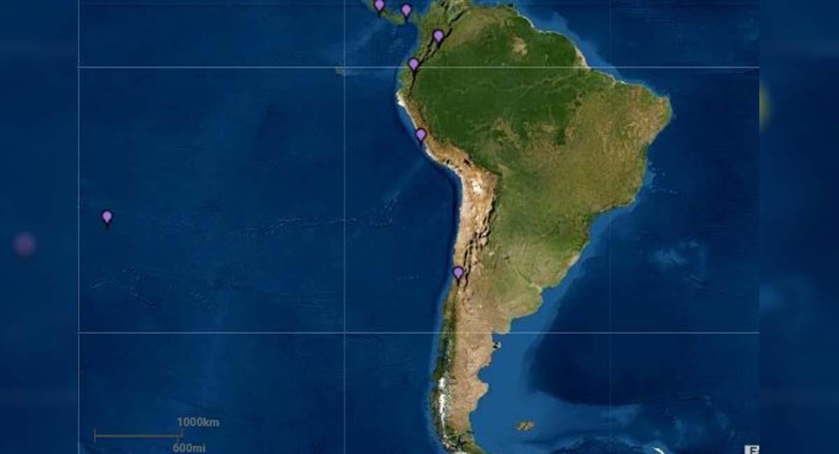 Las costas de Chile podrían ser afectadas por este tsunami. Foto: Twitter / @EarthQuakesTime