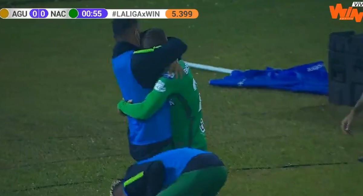 Tomás Ángel celebra su primer gol con Atlético Nacional. Foto: Twitter @WinSportsTV