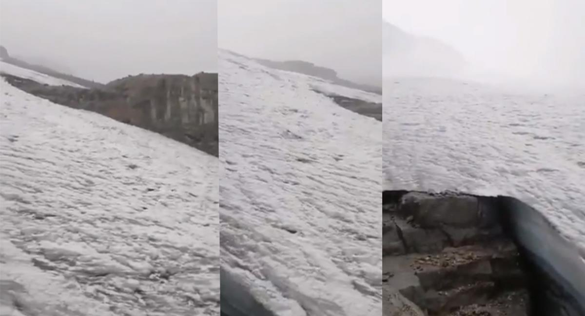 El evento natural dejó extasiados a los visitantes que captaron la nevada. Foto: Twitter @Boyaca_noticias