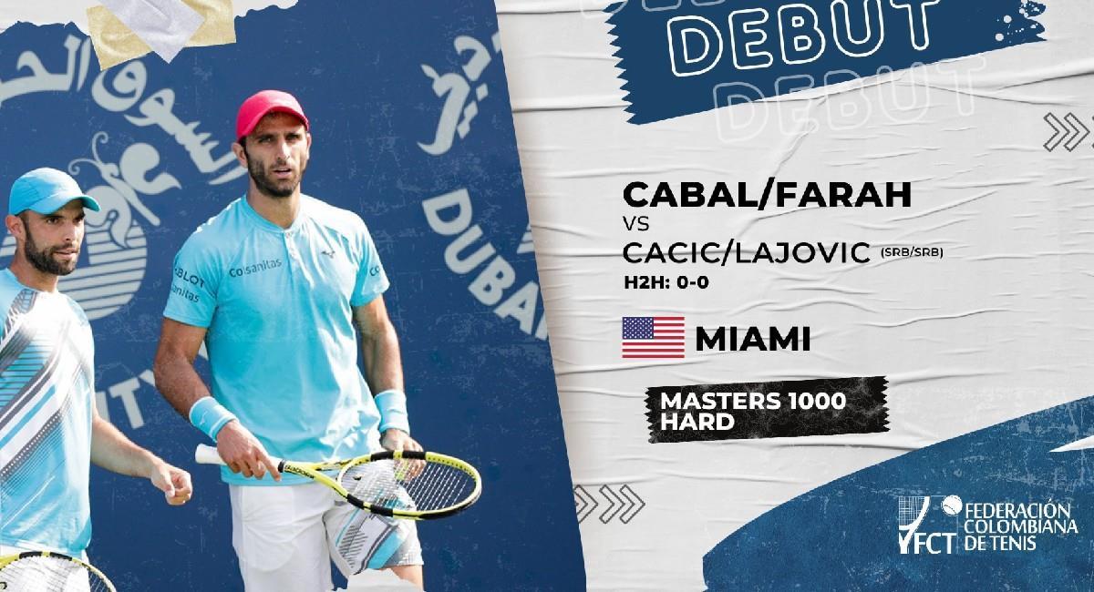 Cabal y Farah inician con victoria en el Miami Open. Foto: Twitter @fedecoltenis