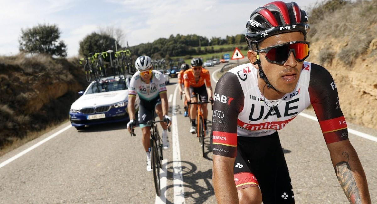 Sebastián Molano fue tercero en la etapa 6 de la Vuelta a Cataluña. Foto: Twitter @TeamEmiratesUAE
