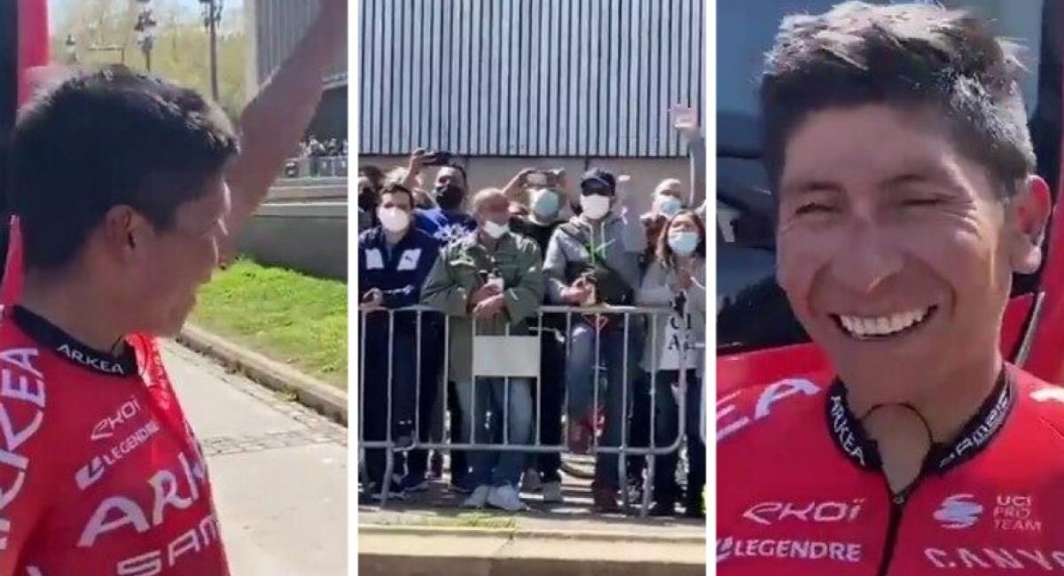 Aficionados aclaman a Nairo Quintana. Foto: Twitter Prensa redes Team Arkea.