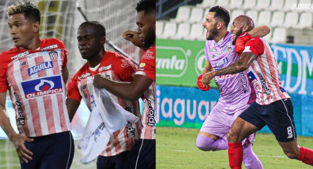 Junior obtuvo una importante victoria ante Jaguares y Sebastián Viera marcó un golazo de tiro libre. Foto: Twitter @JuniorClubSA/@BVarCaracol