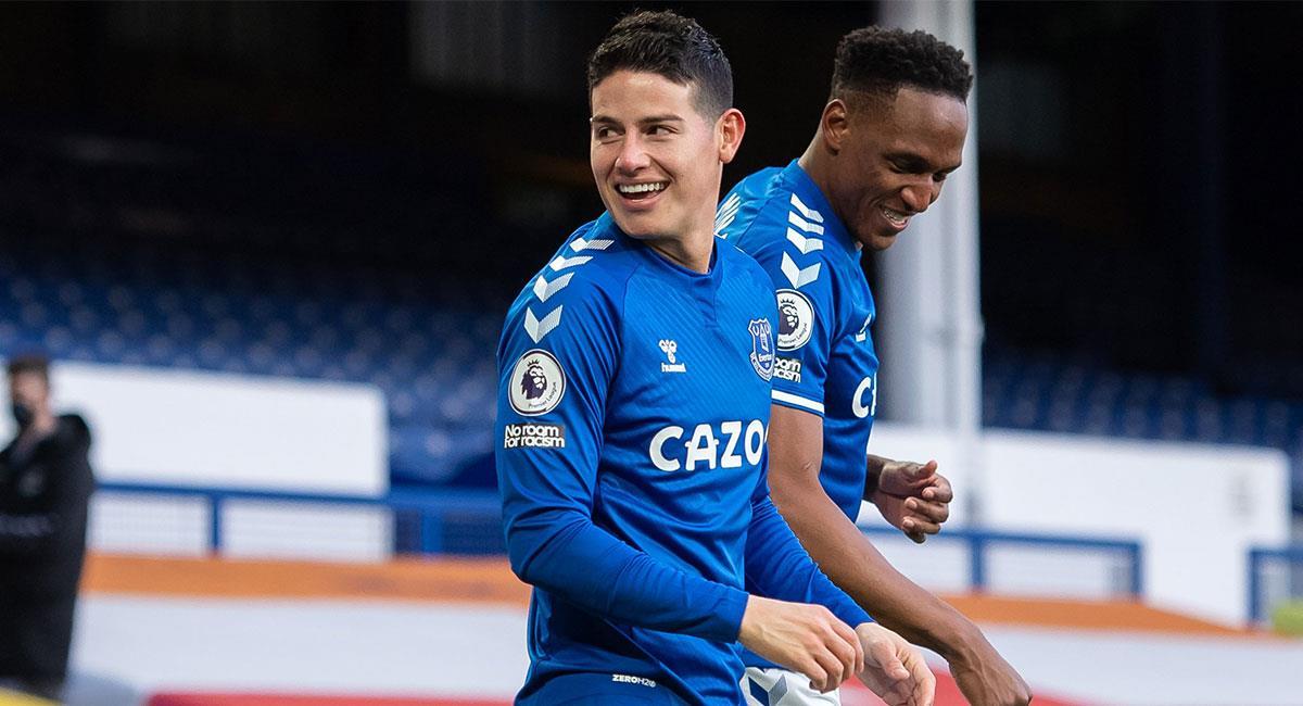 James Rodríguez podría repetir titularidad con Everton ante Brighton. Foto: Twitter @EvertonESP
