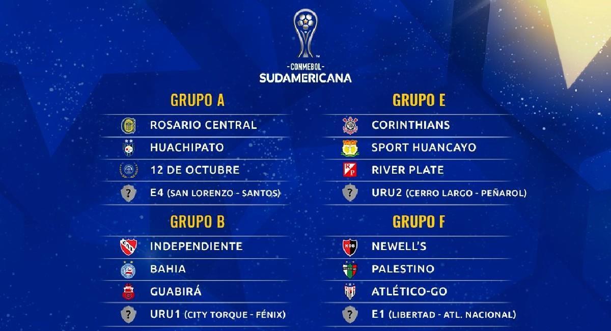 Así quedaron los grupos de la Copa Conmebol Sudamericana 2021. Foto: Twitter @Sudamericana