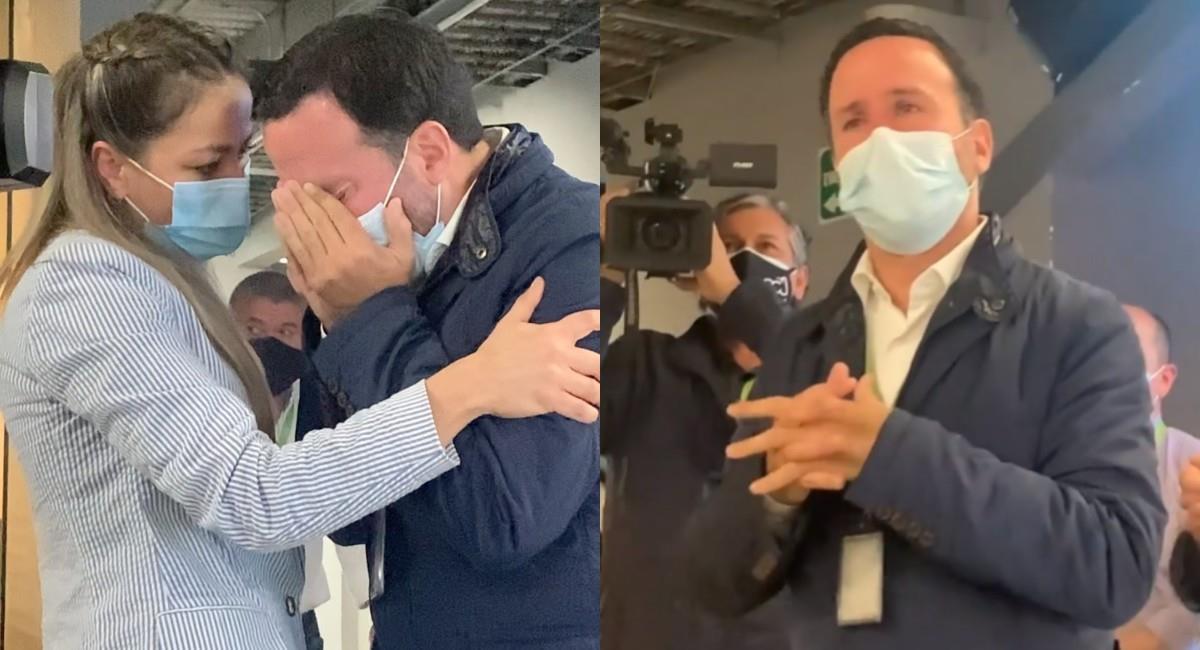 Felipe Arias celebró entre lágrimas su regreso a 'Noticias RCN'. Foto: Instagram