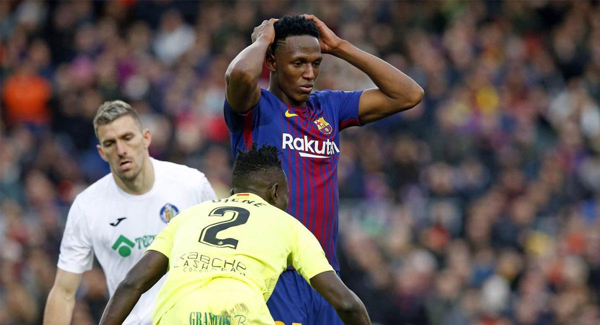 Yerry Mina llegó en  enero de 2018 a Barcelona y se fue del club en agosto del mismo año. Foto: Twitter @FCBarcelona_es