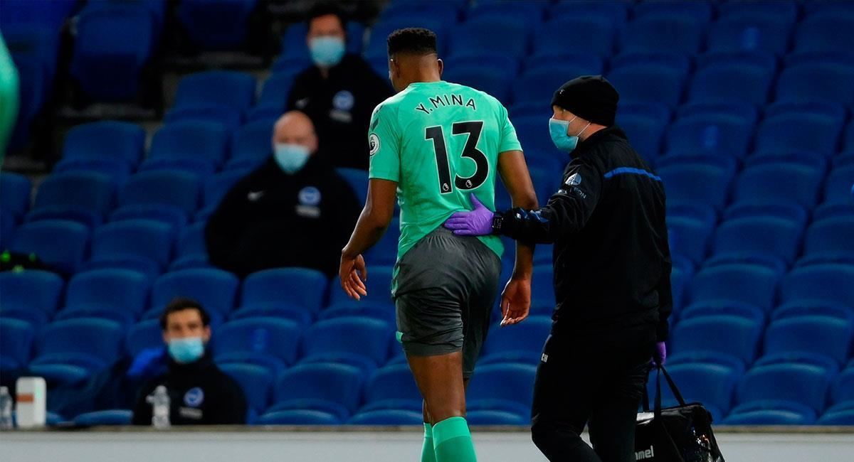 Yerry Mina salió a los 57 minutos del partido entre Everton y Brighton. Foto: EFE
