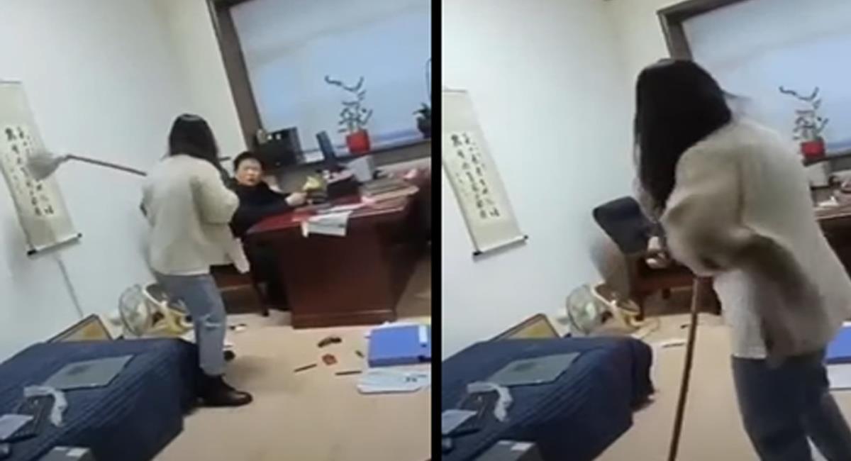 Cansada del acoso hacia ella y sus compañeras de trabajo, una mujer en China decidió atacar a su jefe con un trapero. Foto: Captura de video