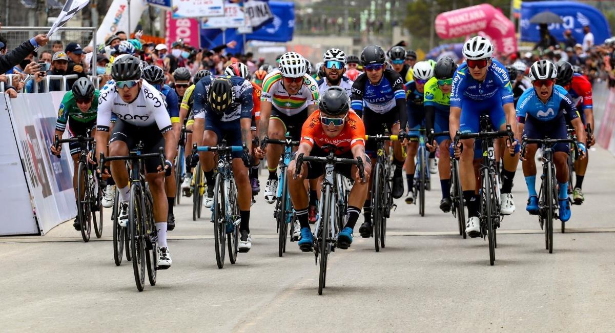 Luis Carlos Chía ganó la segunda etapa de la Vuelta a Colombia. Foto: Twitter Prensa redes equipo Conalgo.