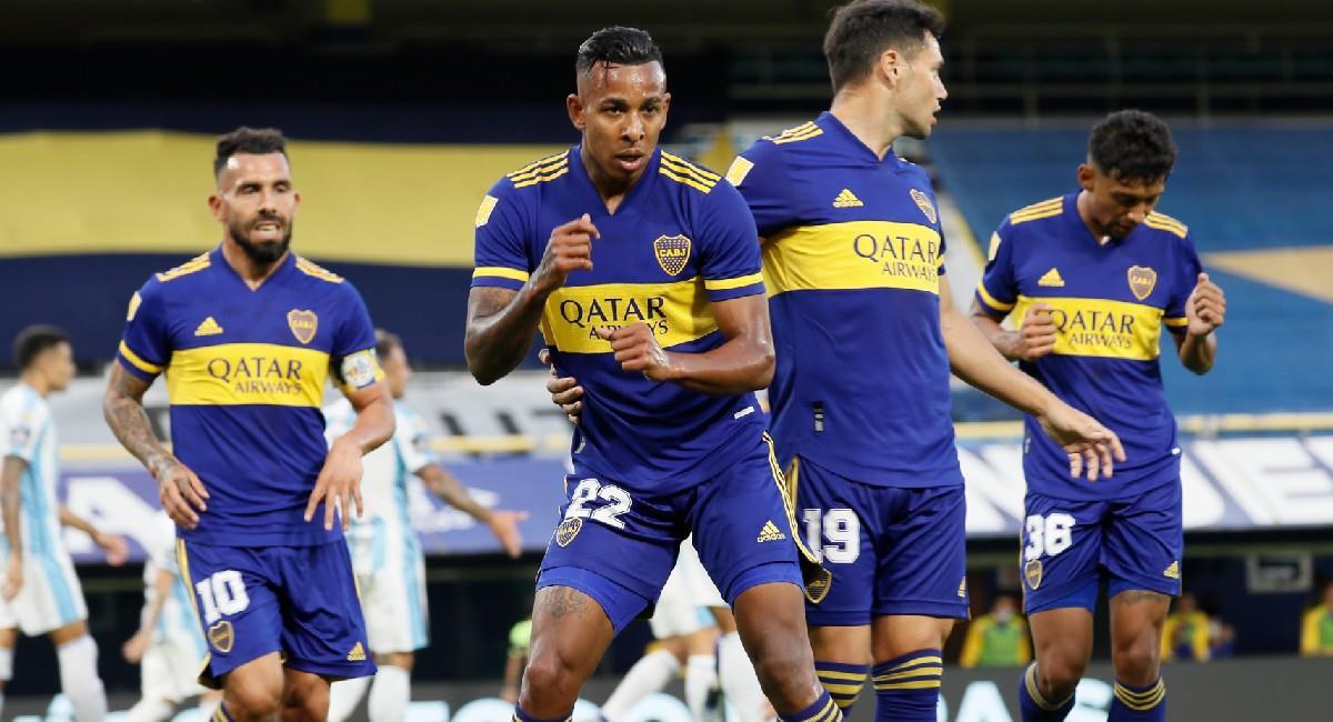 Sebastián Villa celebra su gol con Boca Juniors. Foto: Twitter @BocaJrsOficial