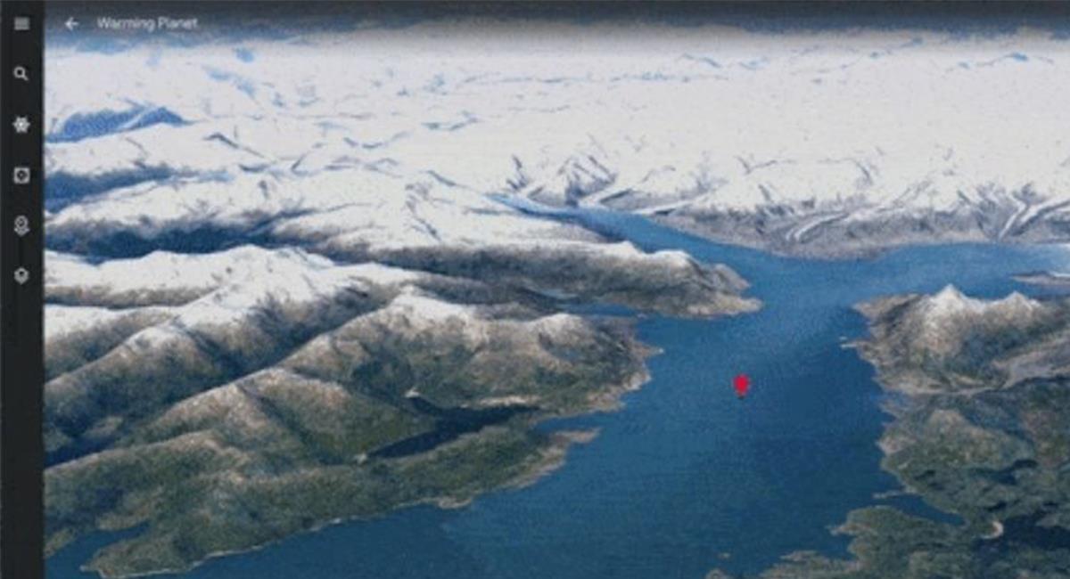 Los glaciares de Colombia, son los que más cambio han tenido a lo largo de los años. Foto: Twitter @GoogleMaps