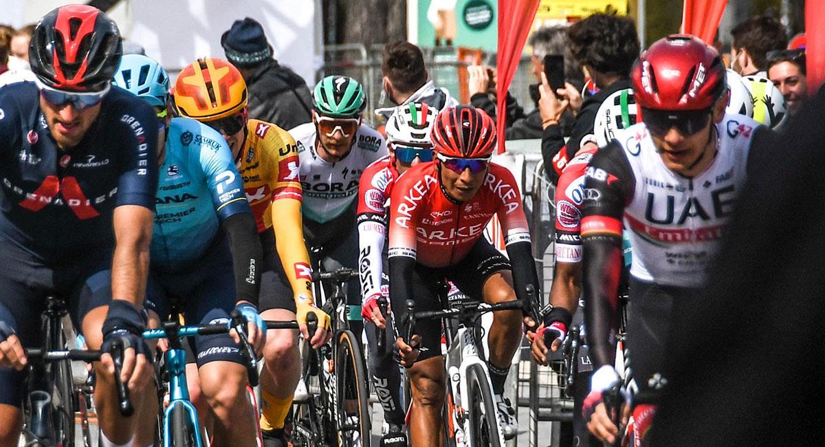 Nairo Quintana fue el mejor colombiano en la primera etapa del Tour de los Alpes. Foto: Twitter @Arkea_Samsic