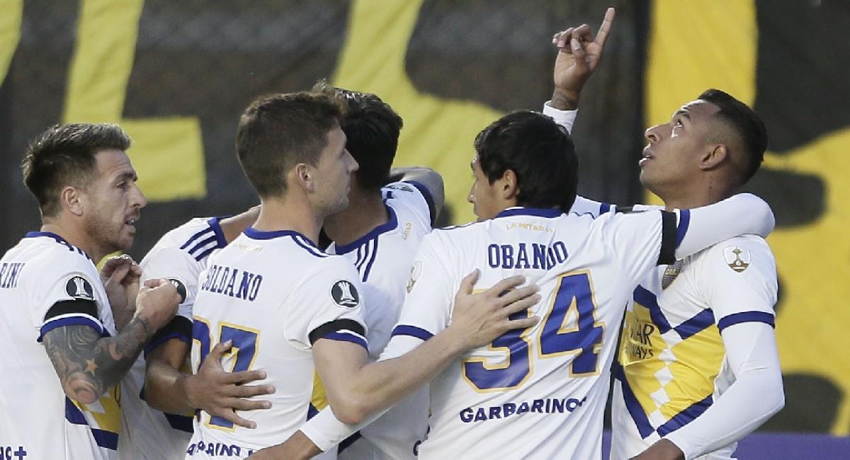 Sebastián Villa celebra su gol con Boca Juniors en Copa Conmebol Libertadores. Foto: Twitter @BocaJrsOficial
