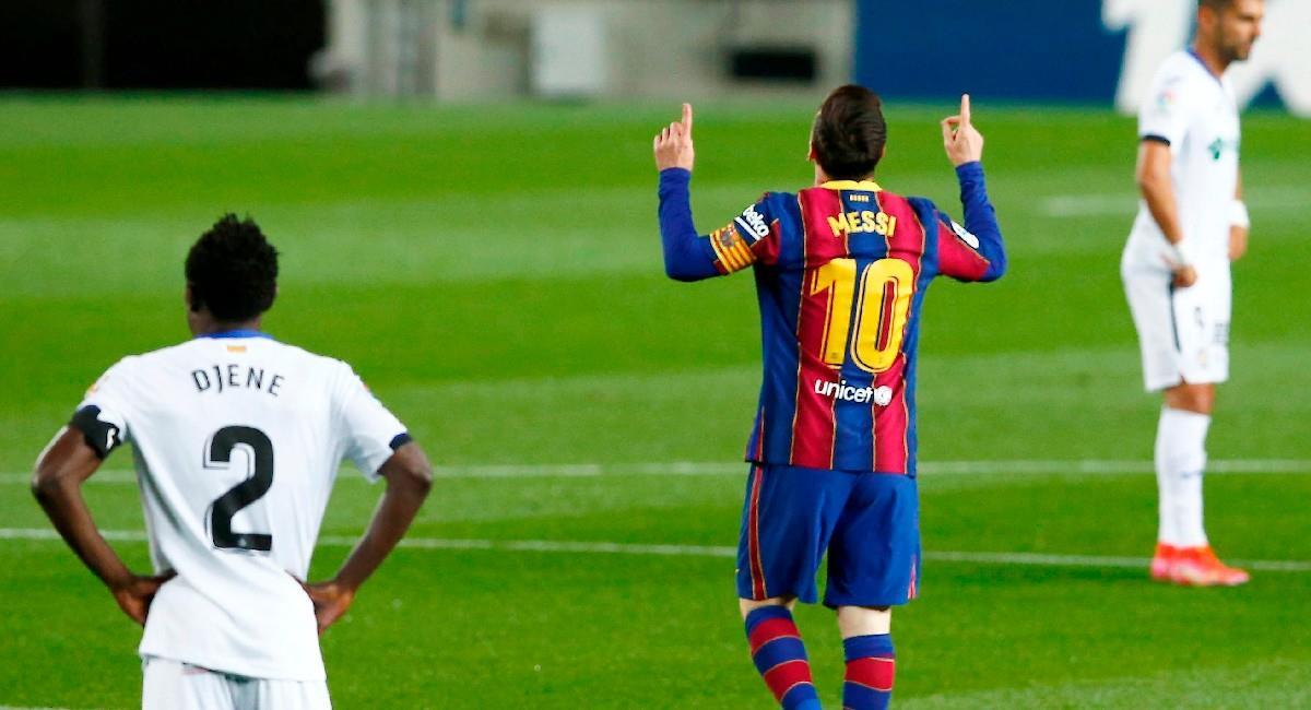 Lionel Messi en el partido ante Getafe. Foto: EFE