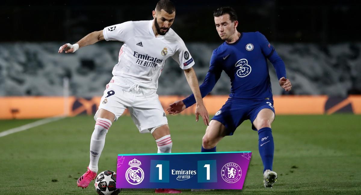 Karim Benzema anotó el empate para Real Madrid. Foto: Twitter @realmadrid