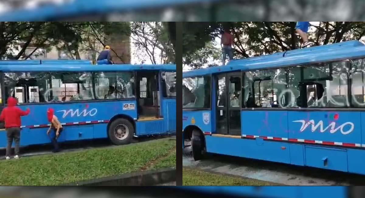 Paro nacional: Denuncian vandalismo a buses del MÍO en Cali (VIDEO)