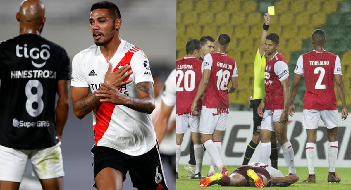 Junior de Barranquilla cayó ante River Plate en Buenos Aires y Santa Fe se fue derrotado por Fluminense de la cancha de Armenia. Foto: Twitter @RiverPlatePho / @DIARIODEPORTES