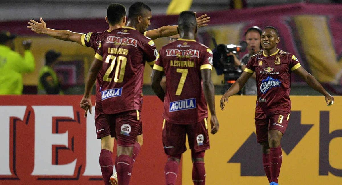 Deportes Tolima empató como local ante Talleres de Córdoba en su segunda salida en la Copa Conmebol Sudamericana. Foto: Twitter @BVarCaracol