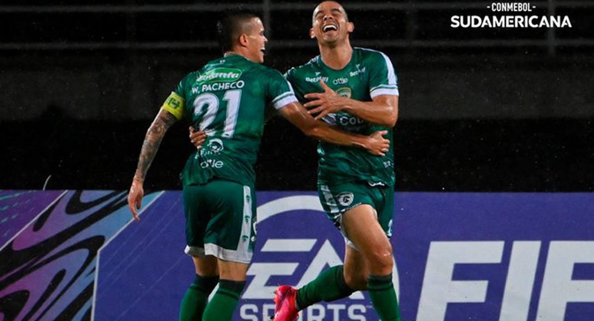 Equidad obtuvo su primera victoria en la Copa Sudamericana enfrentando a Aragua de Venezuela en la ciudad de Pereira. Foto: Twitter @NoticiaFutve