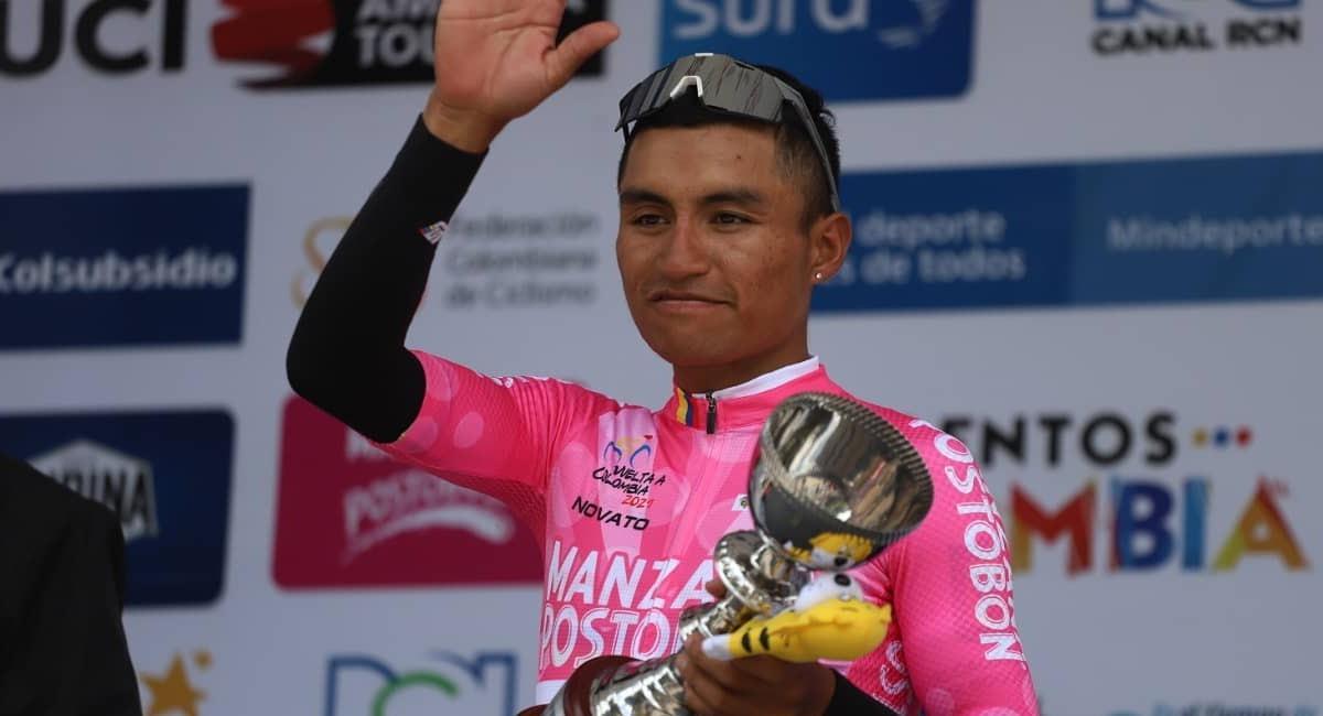 Yesid Pira fue el mejor novato de la Vuelta a Colombia 2021. Foto: Twitter @Vueltacolombia1